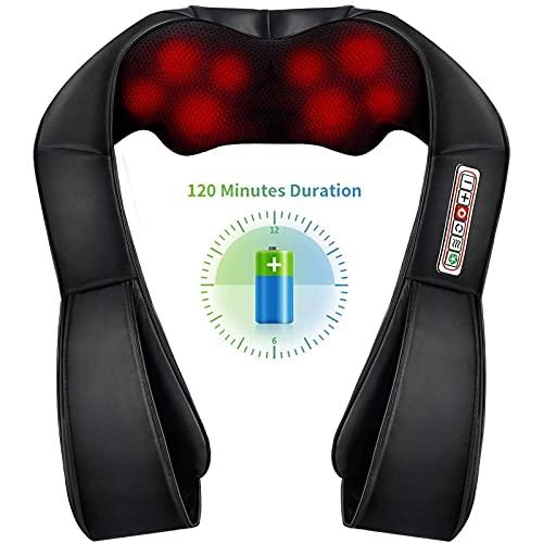 RaMokey Nackenmassagegerät mit Wärmefunktion, Schulter Rücken Shiatsu Nacken Elektrisch Massagegerät mit 3 Einstellbaren Geschwindigkeiten, Massage für zu Hause Büro und Auto