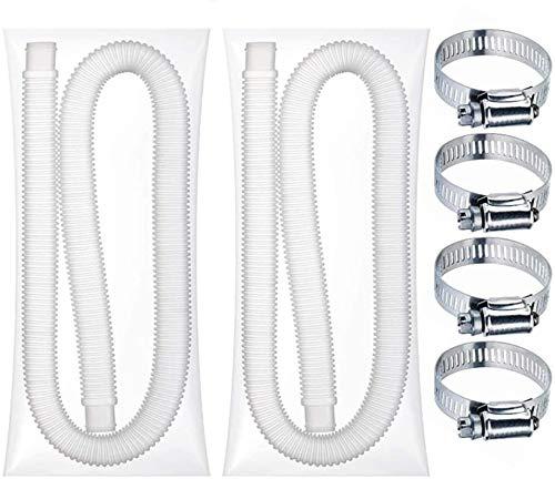 Manguera de Repuesto para Piscina de Doble Tubo y 4 Hebillas, la Manguera de Repuesto para Bomba es fácil de Usar, Manguera de Repuesto de 1,25 Pulgadas de diámetro para Piscinas elevadas