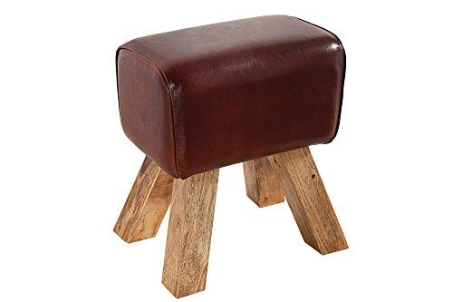 DuNord stier ontwerp kruk lederen look meubels teak massief hout voet kruk