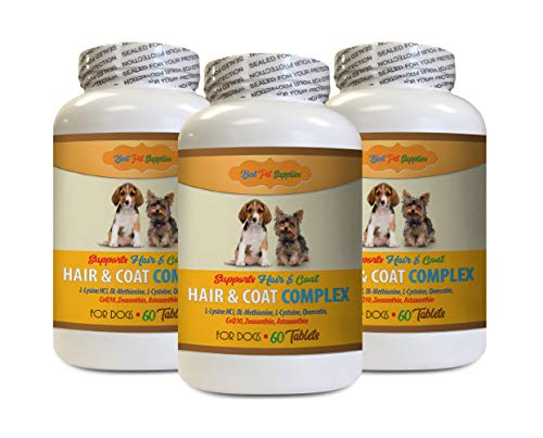 BEST PET SUPPLIES LLC Dog flakey Skin - Hair and Coat Complex for Dogs - Full Skin and Hair Health - Immune Boost - Cranberry Pills for Dogs - 180 Tablets (3 Bottles)