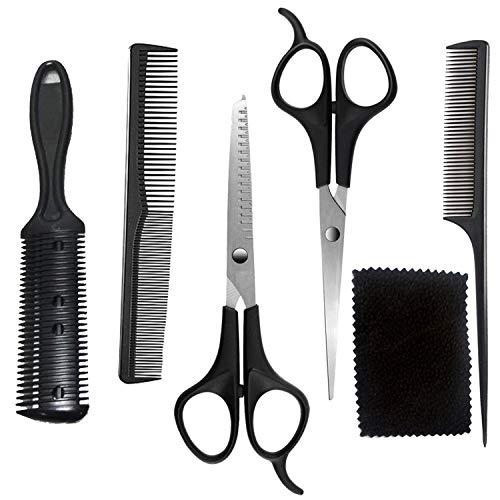 Juego de 5 tijeras profesionales para cortar el pelo, con tijeras de peluquería para el hogar, con tijeras de adelgazar, peine de afeitar, clips, para peluquería y hogar