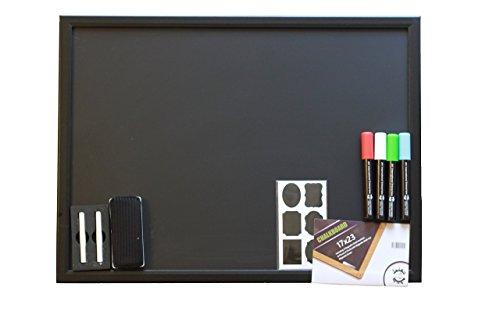 17 x 23 Chalkboard | Elegant Wooden Black Matte | 4 Chalk Markers | Magnetic Eraser & Holder, 2 Chalks & 30 Complimentary Chalk Labels | For Kids Bedroom, Restaurants, Bars, Classroom & Office