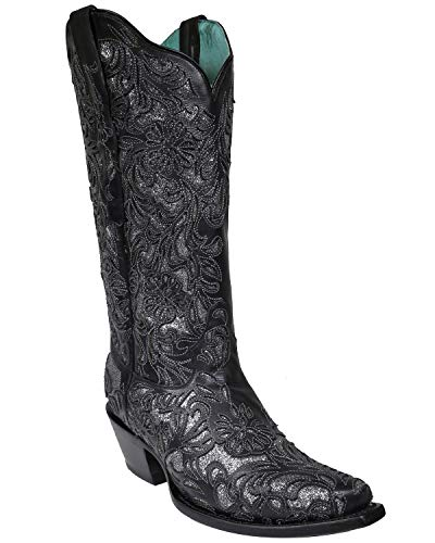 CORRAL Women's Glitter Inlay Western Boot Snip Toe Black 10.5 M