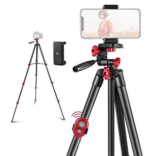 ART DNA 54-inch Phone Tripod, 2kg/4.4 lb Load, Portable Lightweight Travel Tripod with Carrying Bag, Remote, Phone Mount, and 3-Way Pan Head, Suitable for DSLR/GoPro/Android/iPhone 12/11/Xs Max