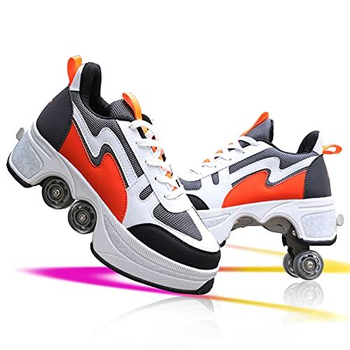JZIYH Doble fila ajustable Patines de rodillos para niños Zapatos de cuatro ruedas Deformación Multifuncional Patinaje Zapatos Casual Deportes Zapatos
