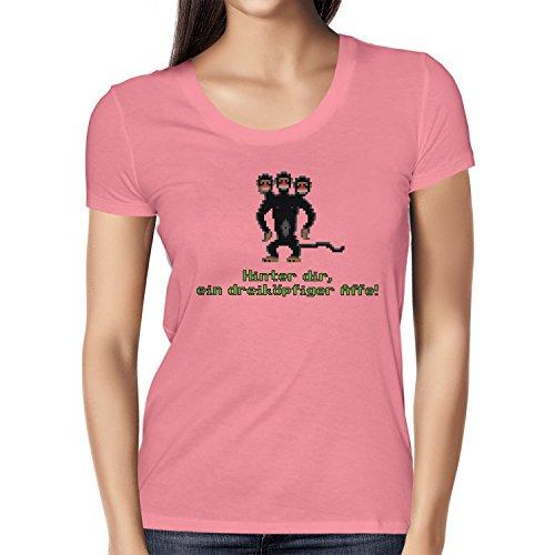 NERDO Damen Dreiköpfiger AFFE T-Shirt, Pink, M