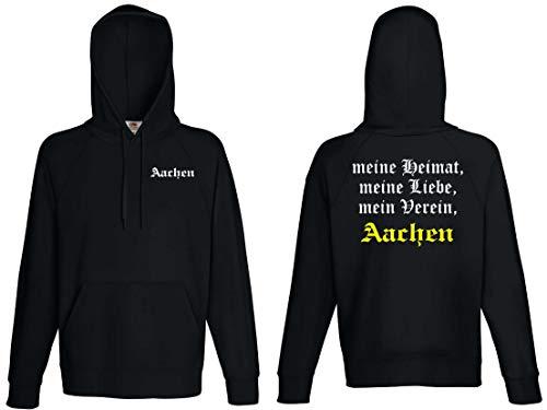 world-of-shirt / Aachen Herren Kapuzensweat Meine Heimat, Mein Verein Schwarz L