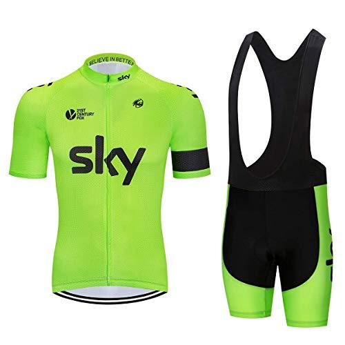 Estive Tuta Abbigliamento da Ciclismo, Completo Ciclismo Uomo Maglia Bici Manica Corta+Pantaloncini Ciclismo con 5D Cuscino