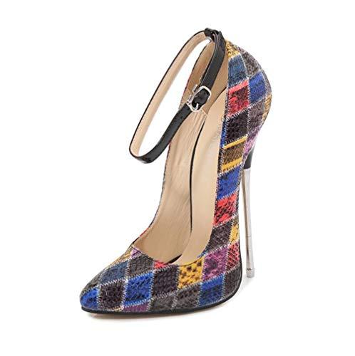 ZFAFA Damen Extrem Pumps Stiletto High Heels Serpentin Farbblock mit Pfennigabsatz Sexy Party Schuhe Fotografie