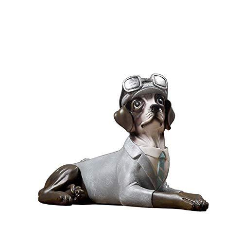 Mnjin Decoración del hogar Perro Estatua Decorativa, Escultura Artificial del Perro Modelo del Perro casero Escultura Animal Artesanías Decorativas de Resina 2415.538Cm