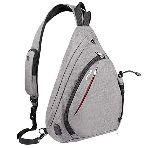 Leder Herrentaschen Brusttasche Schultertasche Sling Bag Crossbody Rucksack Mit USB Ladeanschluss Kopfhörer Loch Für Damen Herren Outdoor Sport Gym Wandern Radfahren (Grau)