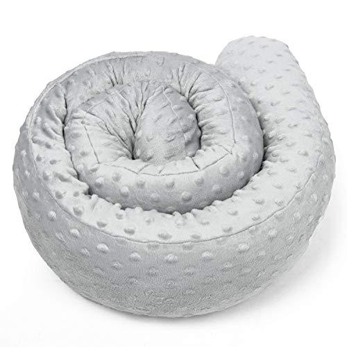 paracolpi lettino culla lettino 4 lati pali neonato bimba salsicciotto rullo ragazzo ragazza (Minky grigio, 300 cm)