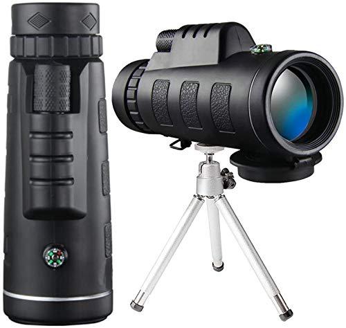 ZUOAO Telescopio monocular 12X50 - Monocular Resistente al Agua Bak4 HD de Alta definición con Soporte para teléfono Inteligente y trípode para observación de Aves, Camping, Turismo