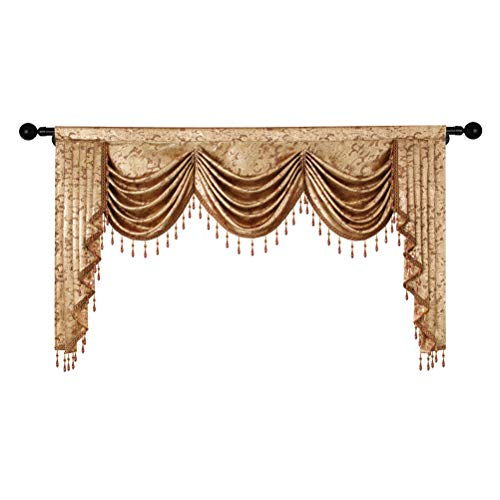 ELKCA European Valance Curtains for Living Room Luxury Coffee Curtains for Bedroom Window Curtains for Kitchen (W79, 1 Piece)