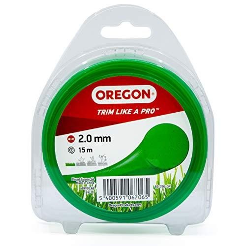 OREGON Bobine de Fil Nylon Rond pour Coupe-bordure, Fil de coupe de remplacement 2mm x 15m, Vert (69-356-GR), Compatible avec Toutes Têtes de Coupe