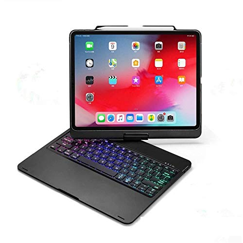 360 Rotating iPad Pro 12.9 inch (4th Generation) Case with Keyboard and Pencil Holder, Business Aluminum Alloy Metal Backlits Keyboard Smart Cover Folio Protective Case for 12.9 inch 2020 (Black)