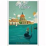 Enmarcado Italia Venecia Ciudad del agua Vintage Tour Paisaje de viaje Turismo Cartel Art Light Canvas-50X70Cm Marco interior de madera maciza