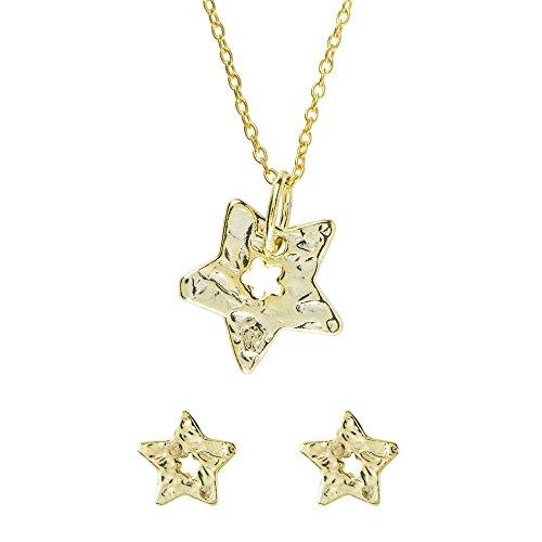 Córdoba Jewels | Conjunto de Gargantilla y Pendientes en Plata de Ley 925. Diseño Estrella Martelé