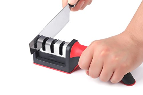 Knife Sharpener Stone Kit for Kitchen Knives - Best Easy to use Professional Manual Sharpening System for Filet and Chef Knives