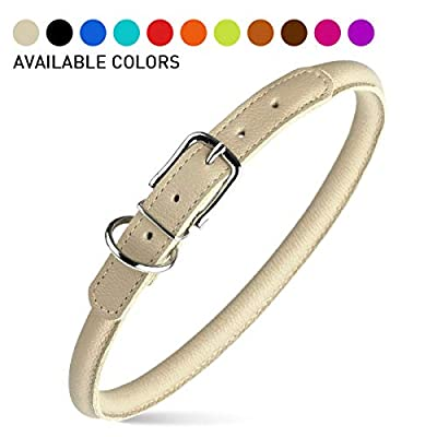 Dogline Rolled Leather Dog Collar - for Small, Medium and Large Breeds - Soft and Padded Round Luxury Design 1/2-Inch Wide Soft Padded Rolled Round Leather Dog Collar, 19 to 22-Inch Length, Beige