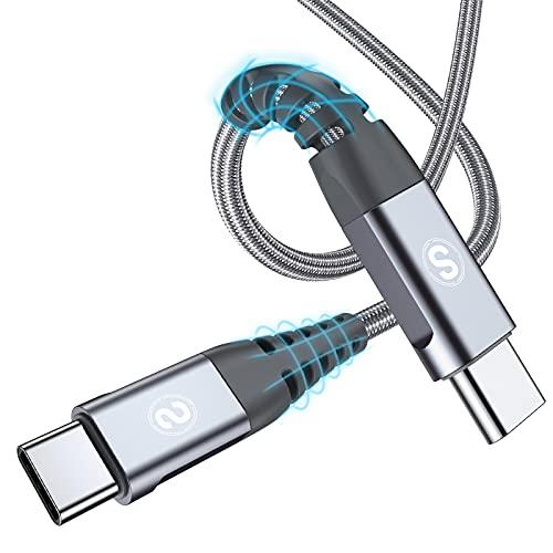 Cavo da USB C a USB C [2 pezzi 0.5m],60 W 20 V   3.1 A Cavo USB tipo C Cavo di ricarica rapida PD con nylon intrecciato per MacBook Pro, iPad Pro, MacBook, ChromeBook Pixel, Galaxy S20   S10, Huawei