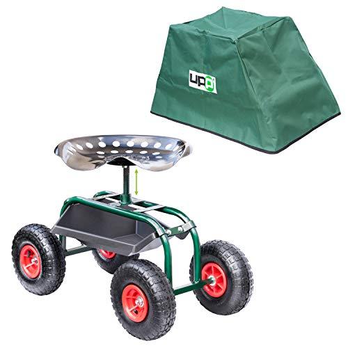 UPP Rollsitz Outdoor Deluxe mit Schutzhülle | Gartenhocker mit verstellbarer Sitzhöhe und stauraum für werkzeug zur bepflanzung| Stabiler Rahmen und breite Reifen für hohe Belastbarkeit