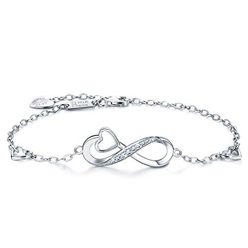 Billie Bijoux Infinity Unendlichkeit Symbol Damen Armband 925 Sterling Silber Zirkonia Armkette Verstellbar Charm Armband (4-Infinity Heart)