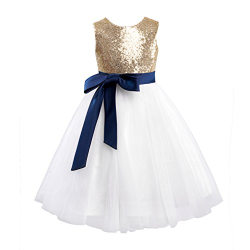 Miama Gold Sequin Ivory Tulle Wedding Flower Girl Dress Junior Bridesmaid Dress,Gold,3T
