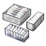 Xixiturtle 3 Set Underwear Drawer Organizer Divider,Foldable Bra Organizer Closet Dividers,Underwear Storage Boxes Bins Containers 6/7/11Cell for Panties,Underwear, Ties,Bras, Socks,Gray