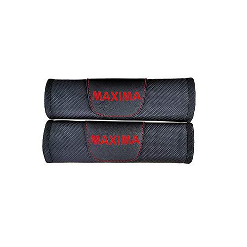 ZXCV 2 Fundas Coche Almohadillas Cinturón Fibra Carbono, para Nissan Maxima Hombro Correa Protector Seguridad con Logo Auto Interior Accesorios