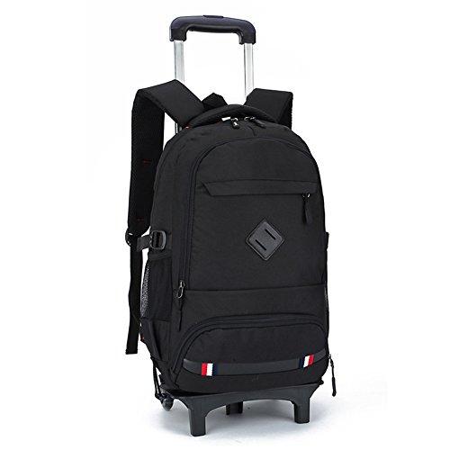 Trolley Bag rugzak met wieltjes, 2-in-1, schooltas, wieltjes, koffer, zwart, sporttas, heren, vrije tijd, reizen, kinderen, jongens, Lycee, 32 x 14 x 47 cm