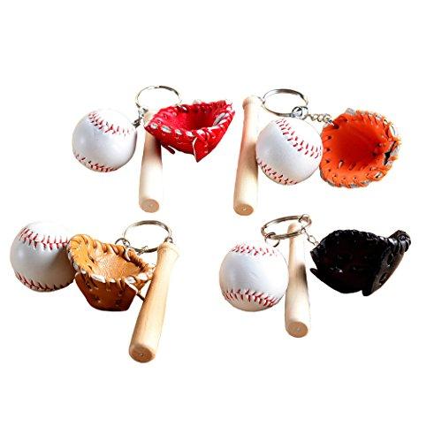 EQLEF® Baseball Porte-clés Mini Batte De Baseball en Bois Porte-clés Gant De Baseball Porte-clés en Cuir PU Baseball Porte-clés Pendentif Porte-clés 4 Pcs