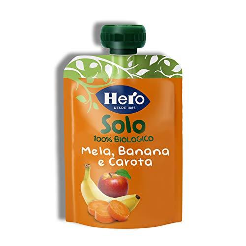 Hero Baby Solo Frutta Frullata 100% Bio Mela, Banana e Carota, senza Zuccheri Aggiunti, Conservanti e Coloranti, senza Glutine, dai 4 Mesi in su - Pack da 18 Confezioni X 100 G