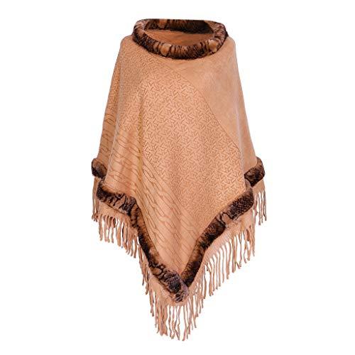 TIFIY Damen Schal Frauen Quaste Kragen Lady Imitation Sweater Cape Coat Decke Schals Weich Warm Bequem Basic Schal Gelb