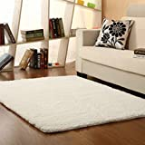 Morbuy Tapete Rectángulo Felpudos Alfombra Hogar Antideslizante Alfombras Piso Moqueta Mats Pad para Habitación (50 * 80cm, Blanco)