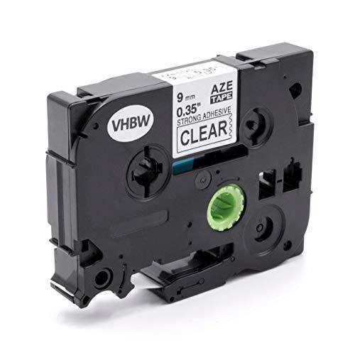 vhbw Schriftband Kassette 9mm weiß auf transparent extra stark passend für Etiketten-Drucker Brother P-Touch 1250VPS, 1260VP, 1280, 1280BTS, 1280CB