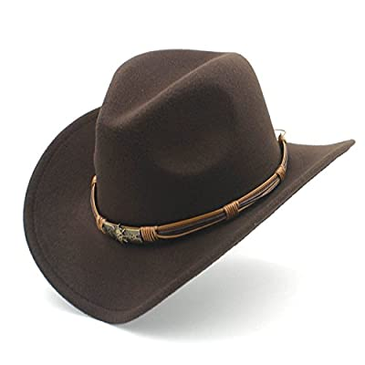 Womens Fashion Western Cowboy Hat With Punk Blet Lady Felt Cowgirl Sombrero Caps, by jdon-hats, (Color : Coffee, Size : 56-58CM)