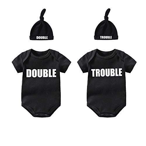 YSCULBUTOL Twins Bodysuits Funny Double trouble Pack of 2 Twins Set with hat baby shower gift(Black Trdo 0-3M)