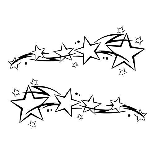 kleb-Drauf®   2 Sternenschweife   Schwarz - glänzend   Autoaufkleber Autosticker Decal Aufkleber Sticker   Auto Car Motorrad Fahrrad Roller Bike   Deko Tuning Stickerbomb Styling Wrapping