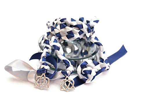 Divinity Braid v4 Navy Silver Celtic Heart Knot Wedding Handfasting Cord #Handfasting #Celtic #CelticHandfasting #Wedding #WeddingHandfasting