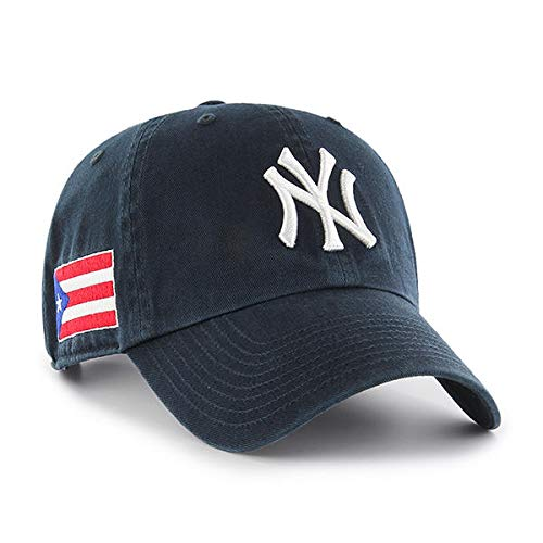 '47 New York Yankees Clean Up Dad Hat Cap Strapback Navy/Puerto Rico PR Flag
