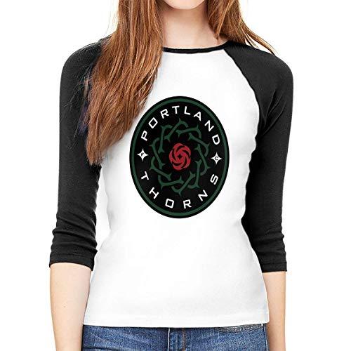 MeiShop Camiseta de Manga 3/4 para Mujer Women Long Sleeve T-Shirt, Portland Thorns FC Sport Round Neck T Shirt Baseball Tunic Tops Blouse