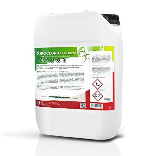 EVEN Cloro Liquido, ipoclorito di Sodio 14/15% per disinfezione Acqua Potabile e Trattamento Acqua Piscine, tanica da 10 LT LINEA KLOVERPOOL