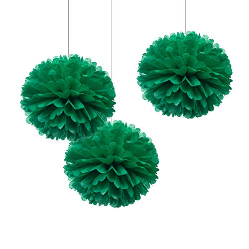 """WEVEN 12"""" Green Tissue Pom Poms, DIY Paper Flower for Party Decorations, Pack of 12"""