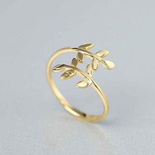 Republe Zink-Legierung Natur Olivenbaum AST Blatt Blätter Ring Women Ring,Zinc Alloy Ring,Leaves Frauen Schmuck One Size