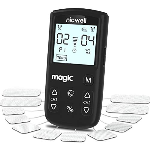 TENS Unit Muscle Stimulator - Nicwell TENS+EMS+Massage Muscle Stimulator Machine with Dual Channel and 12 Pads, 22 Modes for Pain Relief & Arthritis & Muscle Strength