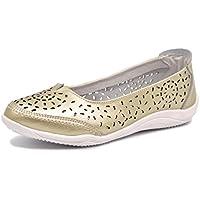 Bailarinas/Mary Jane Merceditas para Mujer, Zapatos Plano Verano para Caminar, Zapatillas de Ballet de Piel Mocasines Transpirables Cómodos Moda Loafers Zapatos de Conducción EU38 (UK5) Gold