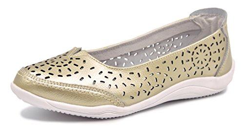 Knixmax Bailarinas/Mary Jane Merceditas para Mujer, Zapatos Plano Verano para Caminar, Zapatillas de Ballet de Piel Mocasines Transpirables Cómodos Moda Loafers Zapatos de Conducción, Gold EU41
