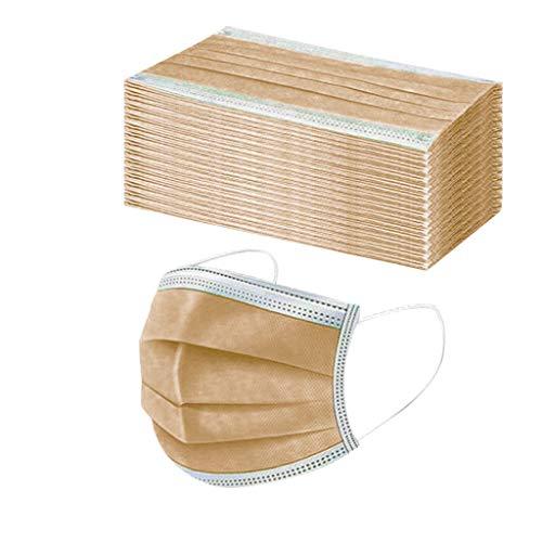 Rabbiter 50 Stück Einmal-Mundschutz 3-lagig Filter Atmungsaktive Mundbedeckung komfortable Staubschutz Erwachsene Bandana Face-Mouth Cover Sommerscha (Gold)