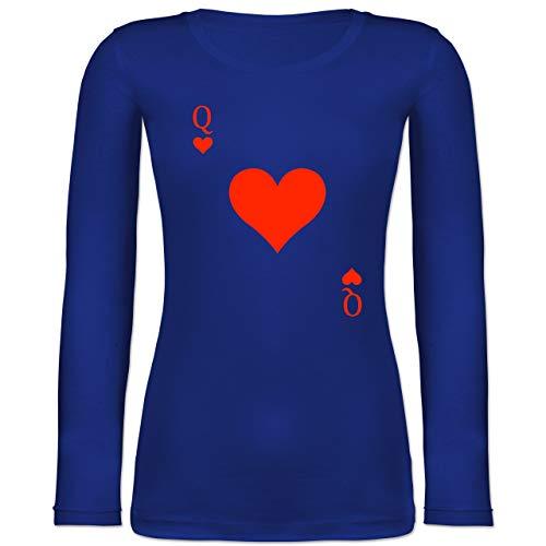 Shirtracer Karneval & Fasching - Queen Kartenspiel Karneval Kostüm - L - Blau - Kostuem Spielkarten - BCTW071 - Langarmshirt Damen